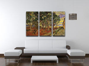 The Garden of Saint-Paul Hospital 4 by Van Gogh 3 Split Panel Canvas Print - Canvas Art Rocks - 4