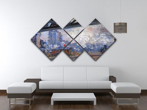 The Gare Saint Lazare by Monet 4 Square Multi Panel Canvas - Canvas Art Rocks - 3