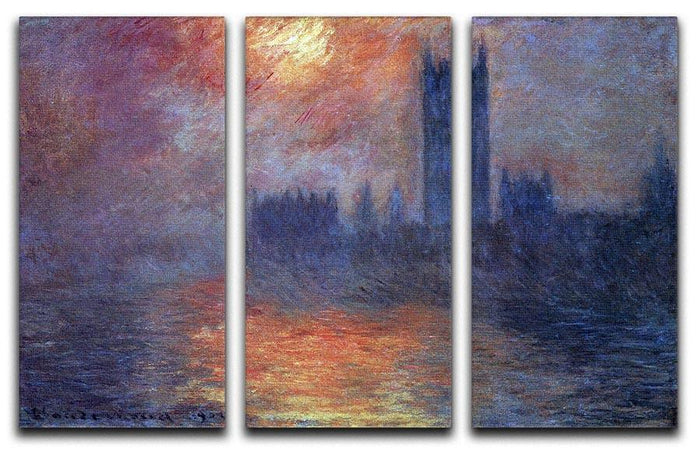 The Houses of Parliament Sunset by Monet Split Panel Canvas Print