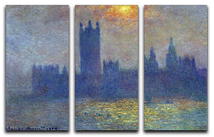 The Houses of Parliament sunlight in the fog by Monet Split Panel Canvas Print