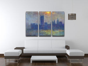 The Houses of Parliament sunlight in the fog by Monet Split Panel Canvas Print - Canvas Art Rocks - 4