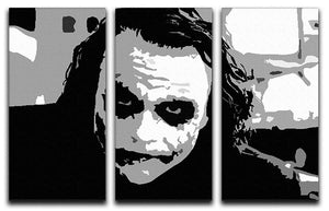 The Joker Pop Art 3 Split Panel Canvas Print - Canvas Art Rocks - 1