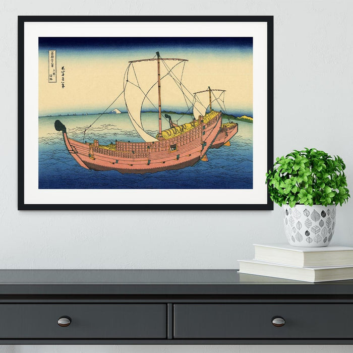 The Kazusa sea route by Hokusai Framed Print