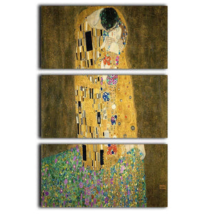 The Kiss by Klimt 2 3 Split Panel Canvas Print - Canvas Art Rocks - 1