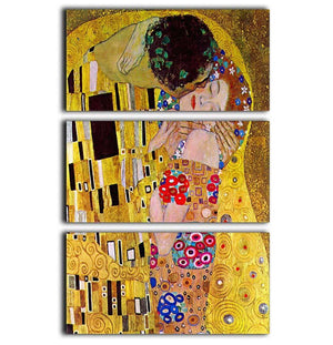 The Kiss by Klimt 3 Split Panel Canvas Print - Canvas Art Rocks - 1