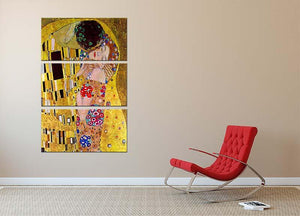 The Kiss by Klimt 3 Split Panel Canvas Print - Canvas Art Rocks - 2