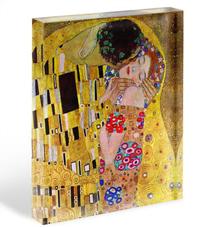 The Kiss by Klimt Acrylic Block - Canvas Art Rocks - 1