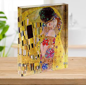 The Kiss by Klimt Acrylic Block - Canvas Art Rocks - 2