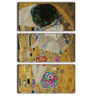 The Kiss detail by Klimt 3 Split Panel Canvas Print - Canvas Art Rocks - 1