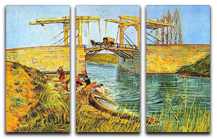 The Langlois Bridge at Arles by Van Gogh 3 Split Panel Canvas Print