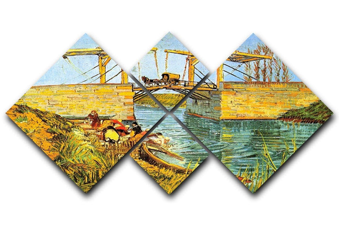 The Langlois Bridge at Arles by Van Gogh 4 Square Multi Panel Canvas