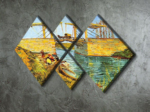 The Langlois Bridge at Arles by Van Gogh 4 Square Multi Panel Canvas - Canvas Art Rocks - 2