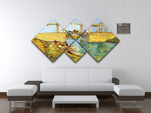 The Langlois Bridge at Arles by Van Gogh 4 Square Multi Panel Canvas - Canvas Art Rocks - 3
