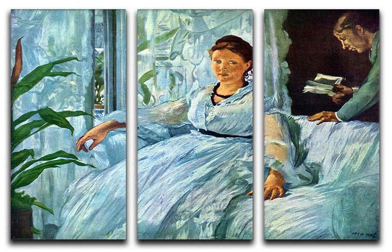 The Lecture by Manet 3 Split Panel Canvas Print - Canvas Art Rocks - 1