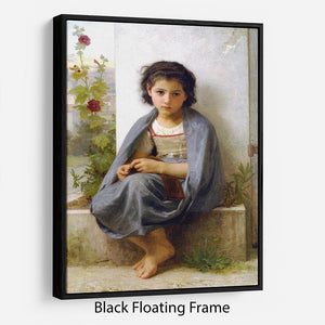 The Little Knitter By Bouguereau Floating Frame Canvas