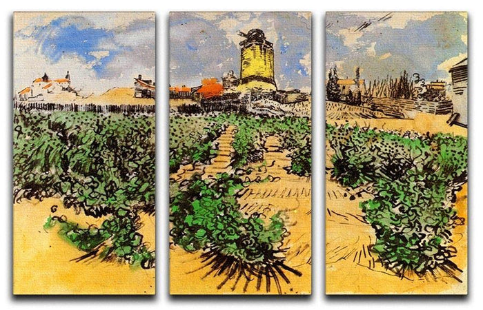 The Mill of Alphonse Daudet at Fontevielle by Van Gogh 3 Split Panel Canvas Print