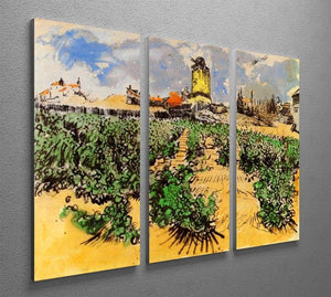 The Mill of Alphonse Daudet at Fontevielle by Van Gogh 3 Split Panel Canvas Print - Canvas Art Rocks - 4