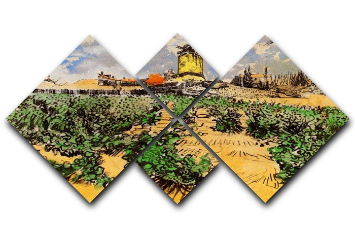 The Mill of Alphonse Daudet at Fontevielle by Van Gogh 4 Square Multi Panel Canvas