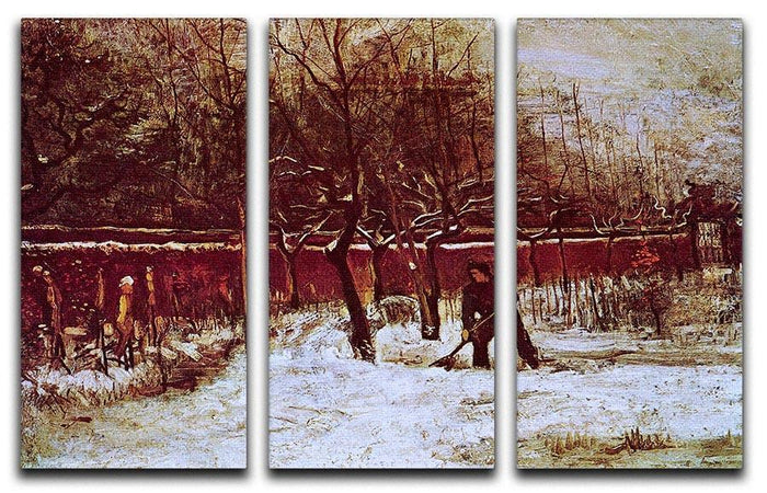 The Parsonage Garden at Nuenen in the Snow by Van Gogh 3 Split Panel Canvas Print