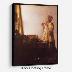The Pearl Necklace by Vermeer Floating Frame Canvas - Canvas Art Rocks - 1