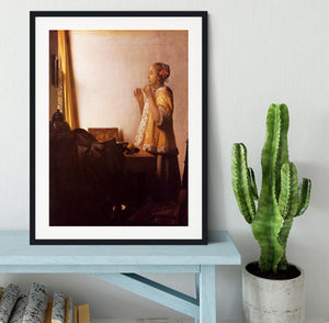 The Pearl Necklace by Vermeer Framed Print - Canvas Art Rocks - 1