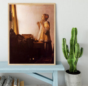 The Pearl Necklace by Vermeer Framed Print - Canvas Art Rocks - 4