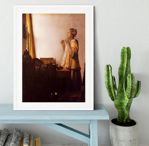 The Pearl Necklace by Vermeer Framed Print - Canvas Art Rocks - 5