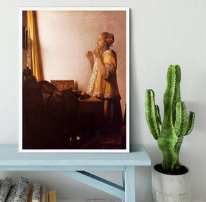 The Pearl Necklace by Vermeer Framed Print - Canvas Art Rocks -6
