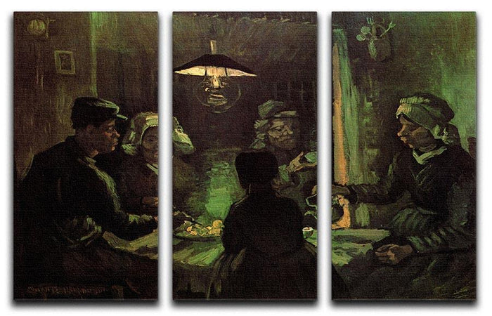 The Potato Eaters by Van Gogh 3 Split Panel Canvas Print