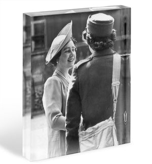 The Queen Mother inspecting WW2 service members Acrylic Block - Canvas Art Rocks - 1