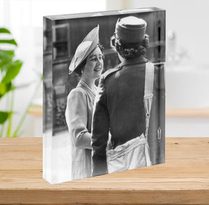 The Queen Mother inspecting WW2 service members Acrylic Block - Canvas Art Rocks - 2