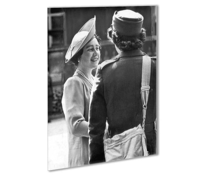 The Queen Mother inspecting WW2 service members Outdoor Metal Print
