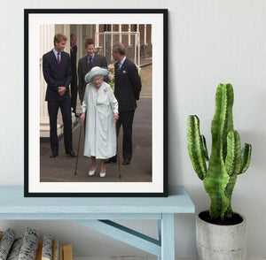 The Queen Mother on her 101st Birthday with family Framed Print - Canvas Art Rocks - 1