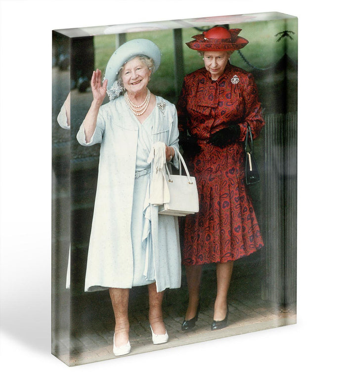 The Queen Mother on her 91st birthday with Queen Elizabeth Acrylic Block