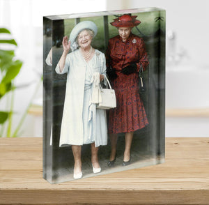 The Queen Mother on her 91st birthday with Queen Elizabeth Acrylic Block - Canvas Art Rocks - 2