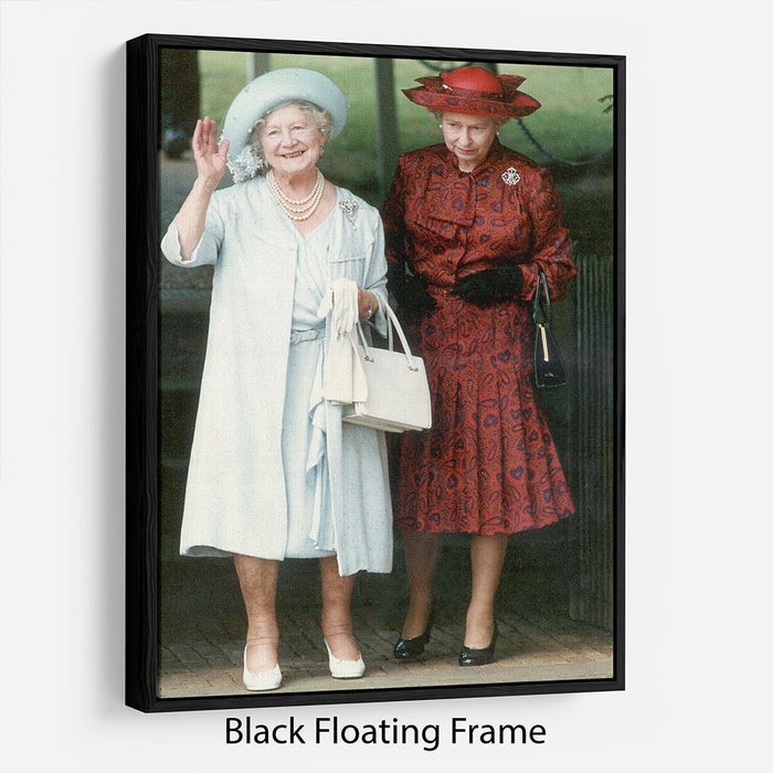 The Queen Mother on her 91st birthday with Queen Elizabeth Floating Frame Canvas