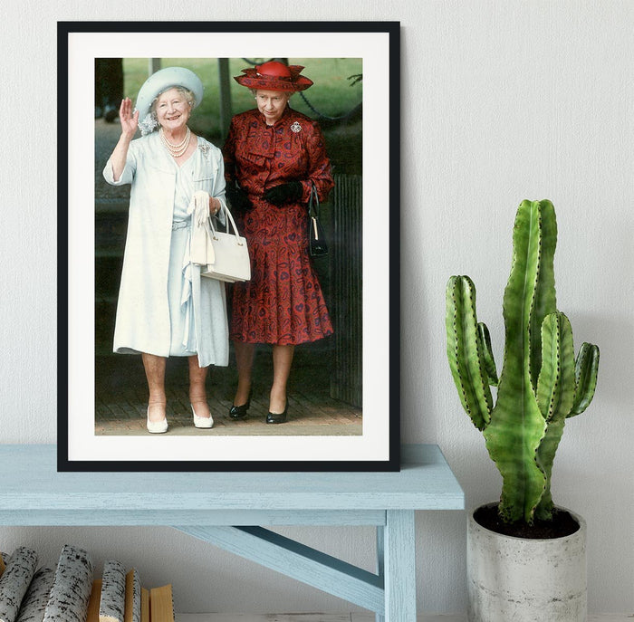 The Queen Mother on her 91st birthday with Queen Elizabeth Framed Print