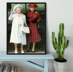 The Queen Mother on her 91st birthday with Queen Elizabeth Framed Print - Canvas Art Rocks - 2