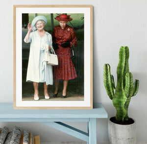 The Queen Mother on her 91st birthday with Queen Elizabeth Framed Print - Canvas Art Rocks - 3