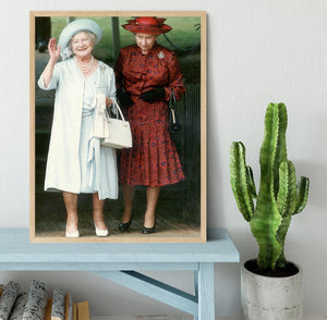 The Queen Mother on her 91st birthday with Queen Elizabeth Framed Print - Canvas Art Rocks - 4