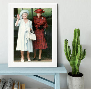 The Queen Mother on her 91st birthday with Queen Elizabeth Framed Print - Canvas Art Rocks - 5