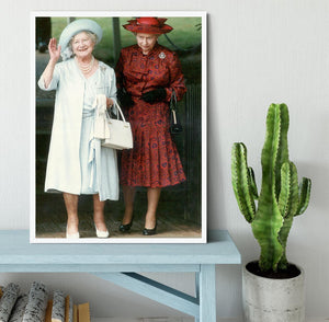 The Queen Mother on her 91st birthday with Queen Elizabeth Framed Print - Canvas Art Rocks -6