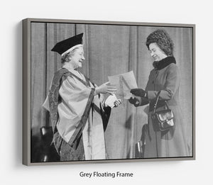 The Queen Mother receiving Honorary Doctorate by the Queen Floating Frame Canvas