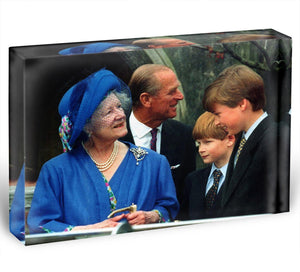 The Queen Mother with Prince William and Prince Harry Acrylic Block - Canvas Art Rocks - 1