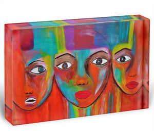The Red Faces Acrylic Block - Canvas Art Rocks - 1