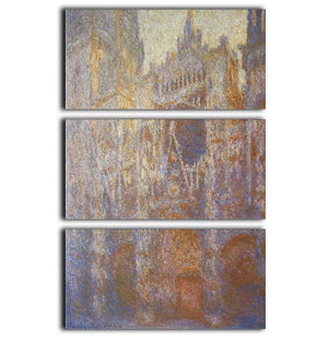 The Rouen Cathedral West facade by Monet 3 Split Panel Canvas Print - Canvas Art Rocks - 1