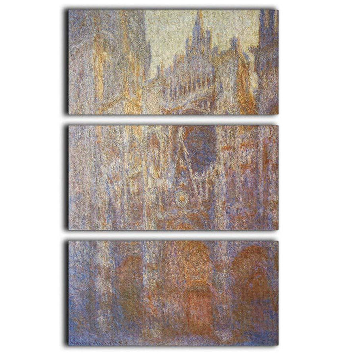 The Rouen Cathedral West facade by Monet 3 Split Panel Canvas Print