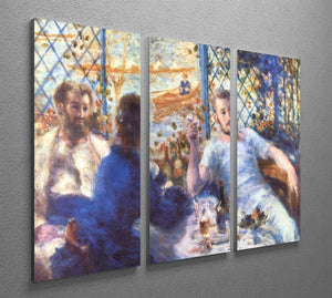 The Rowers Lunch by Renoir 3 Split Panel Canvas Print - Canvas Art Rocks - 2