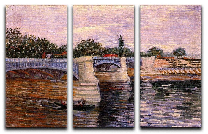 The Seine with the Pont del Grande Jette by Van Gogh 3 Split Panel Canvas Print