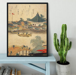 The Shrine Komagata Do in Komagata by Hokusai Framed Print - Canvas Art Rocks - 2